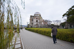 View on the atomic bomb dome in Hiroshima. HIROSHIMA, JAPAN - DECEMBER 11 2016 : View on the atomic bomb dome in Hiroshima Japan. UNESCO World Heritage Site Royalty Free Stock Photo