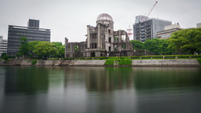 View on the atomic bomb dome in Hiroshima Japan. Long exposure on the atomic bomb dome in Hiroshima Japan Royalty Free Stock Photos