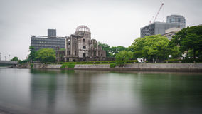 View on the atomic bomb dome in Hiroshima Japan. Long exposure on the atomic bomb dome in Hiroshima Japan Royalty Free Stock Image