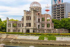 View on the atomic bomb dome in Hiroshima Japan. UNESCO World Heritage Site Royalty Free Stock Photo