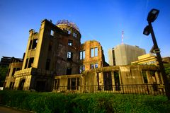 Hiroshima city in Chugoku region of Japan Honshu Island. Famous atomic bomb dome. View on the atomic bomb dome in Hiroshima Japan. UNESCO World Heritage Site royalty free stock image