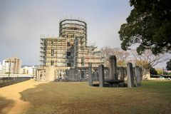 Hiroshima city in Chugoku region of Japan Honshu Island. Famous atomic bomb dome. View on the atomic bomb dome in Hiroshima Japan. UNESCO World Heritage Site royalty free stock photography