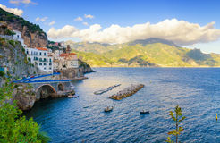 View on Atrani and mountain on Amalfi coast, Campania, Italy royalty free stock image
