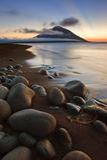 View Atsonupuri volcano at sunset. Royalty Free Stock Photo