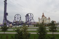 A view of the attractions of Sochi park in the Olympic Park stock image