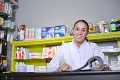 View of an attractive pharmacist at work stock photo