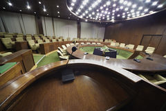 View on auditorium with table and armchairs Royalty Free Stock Photography