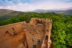 View of Auerbach walls remains ruins, Germany. Auerbach castle ruins of walls and tower from above in southern Hesse, Germany Europe Stock Photos