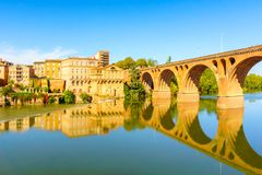 View of the August bridge and The Saint Cecile church in Albi. France Stock Photography
