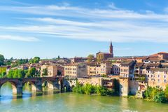 View of the August bridge and The Saint Cecile church in Albi. France Royalty Free Stock Photos
