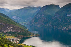 View at Aurland and Aurlandfjord - pictures of Norway Royalty Free Stock Photo