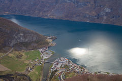 View from Aurland balcony. Song of Fjordane Norway Royalty Free Stock Images