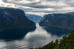 View of the Aurlandsfjord fjord with Stegastein viewing platform Royalty Free Stock Image