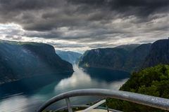 View of the Aurlandsfjord fjord with Stegastein viewing platform Royalty Free Stock Photos