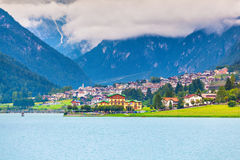 View Auronzo di Cadore and Lake of Auronzo, Italian Dolomites Royalty Free Stock Photo
