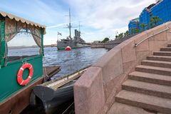 View of the Aurora Cruiser on the Neva River in St. Petersburg, Stock Photography