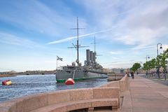 View of the Aurora Cruiser on the Neva River in St. Petersburg, Royalty Free Stock Photography