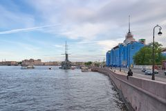 View of the Aurora Cruiser on the Neva River in St. Petersburg, Stock Images