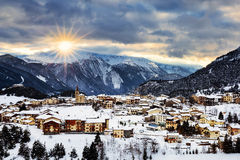 View of Aussois at sunset Stock Image