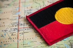 Australia map with aboriginal flag. View of the Australia map with aboriginal flag Stock Photos