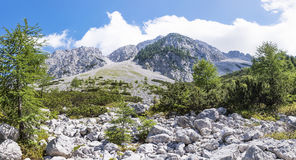 View from Austria to mountain range Karawanks, border to Sloweni Royalty Free Stock Photos