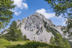View from Austria to mountain range Karawanks with mountain Biel Royalty Free Stock Photography