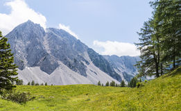 View from Austria to mountain range Karawanks with mountain Stol Stock Images