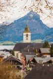 View of austrian alpine town St.Wolfgang on Wolfgangsee lake Stock Image