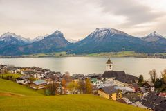 View of austrian alpine town St.Wolfgang on Wolfgangsee lake Royalty Free Stock Photo