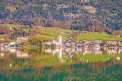View of austrian town St.Wolfgang on Wolfgangsee lake Royalty Free Stock Photos