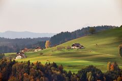 View of Austrian village on mountain hills in Alps. Beautiful mo Royalty Free Stock Photography