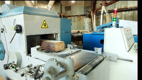 View of automated machines in woodworking shop stock video