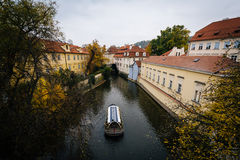View of autumn color and buildings along Čertovka, in Prague, C Royalty Free Stock Images
