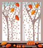 View of autumn forest out the window. Vector illustration Stock Photos