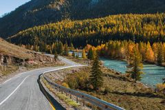 View of autumn landscape Chuya Highway at Altay Mountains, Altai Republic. Russia Stock Photo