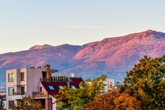 Autumn Morning. View of  autumn Mountain near a city  in the morning and building in Sofia ,Bulgaria Stock Photography