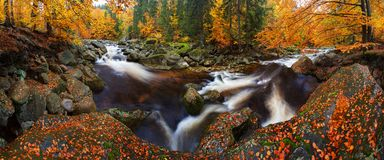 View into autumn mountain river with blurred waves, fresh green mossy stones and boulders on river bank covered. stock photos