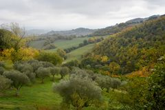 View of the autumn nature of Umbria in Italy . Royalty Free Stock Images