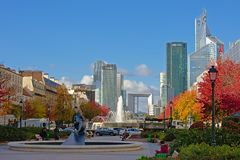 Viez on Highrise towers of La Defense busines district from Neuilly-sur-Seine, paris, france. View from a autumn park in Neuilly-sur-Seine on the highrise Royalty Free Stock Images