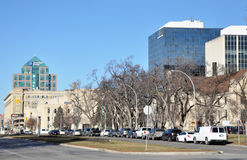 View on autumn street. View on the downtown of Winnipeg City, Manitoba province, Canada Royalty Free Stock Photo