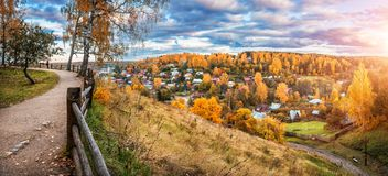 View of the autumn town of Plyos Royalty Free Stock Photos