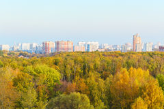 View of autumn trees and city Stock Photo