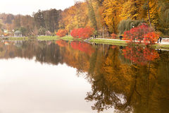 View of autumnal park with people and trees reflection in the water. Stock Photos
