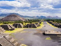 Panoramic view of Teotihuacan Pyramids and Avenue of the Dead, Mexico Royalty Free Stock Photography