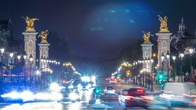 View of Avenue du Marechal Gallieni with traffic night timelapse. Paris, France. View of Avenue du Marechal Gallieni with traffic and night illumination stock video footage