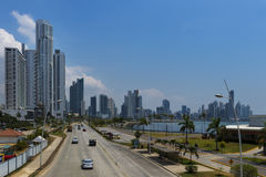 View of an avenue leading to the Panama City`s financial district in Panama City, Panama. Royalty Free Stock Photography