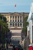 Avenue in Oslo with Royal Palace on Backgrouund, Norway. View of an Avenue in Oslo with Royal Palace on Backgrouund, Norway royalty free stock photography