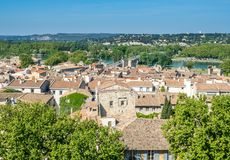 Avignon city view from Papal palace. View of Avignon city from roof top of Papal palace Palais des Papes under clear blue sky in Avignon, France royalty free stock image
