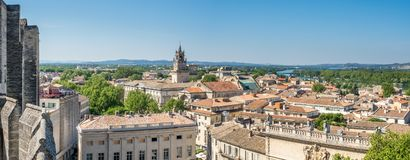 Avignon city view from Papal palace. View of Avignon city from roof top of Papal palace Palais des Papes under clear blue sky in Avignon, France royalty free stock photography