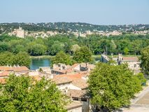 Avignon city view from Papal palace. View of Avignon city from roof top of Papal palace Palais des Papes under clear blue sky in Avignon, France royalty free stock images